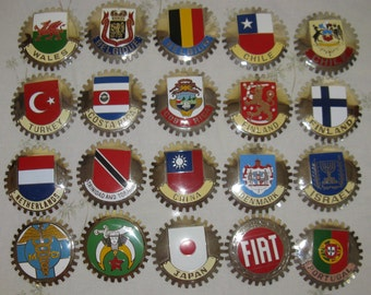 Vintage Car Grill Badges of Countries, Cars, Shriners, and MD - Take your pick