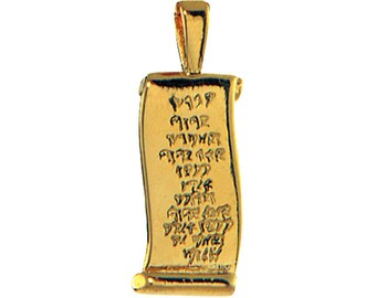 "Solid 14kt gold Aaronic Blessing ""scroll"" pendant - pg009"