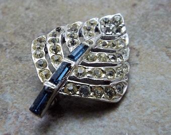 Small Rhinestone rhodium plated leaf brooch pin