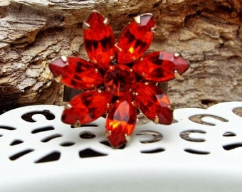 Ring Floral Hyacinth Orange Rhinestone on Antique Bronze Adjustable base