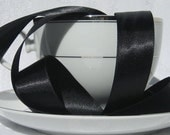 """Black Satin Ribbon (double faced) 7/8"""" wide  - 3 yards"""