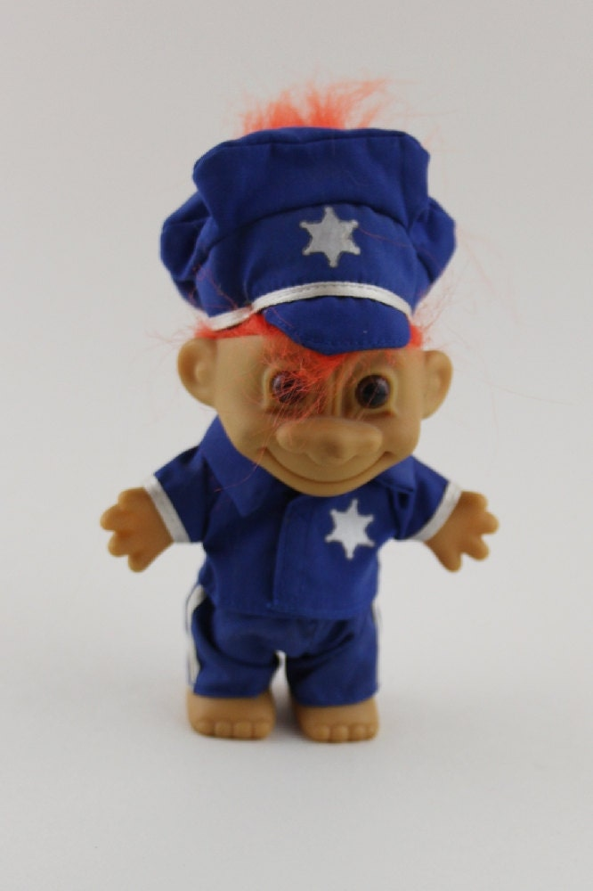 russ orange hair troll doll police officer outfit policeman
