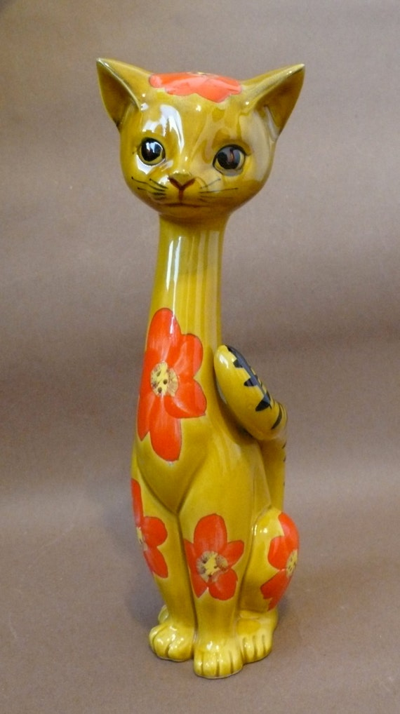 Vintage Ceramic Cat Mid Century Flower Power Psychedelic Long