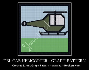 Double Cab Helicopter - Afghan Crochet Graph Pattern Chart - Instant Download