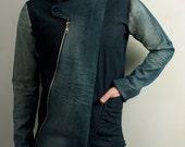 Men's avant garde jean jacket from distressed denim