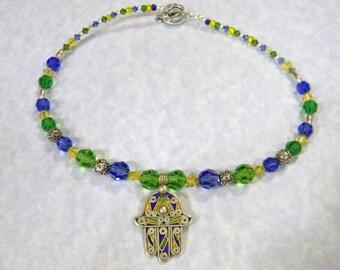 Moroccan Berber Tuareg Enamel Hamsa Pendant, Bali Silver and Blue, Green & Yellow Crystal Necklace
