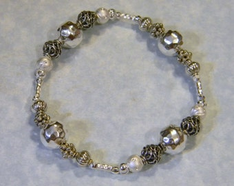 All Silver Thai Karen, Bali and Sterling Stretch Bracelet