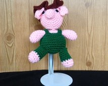 Crochet Pig Stuffed Animal Farmer Handmade Crocheted Yarn Traditional Toy