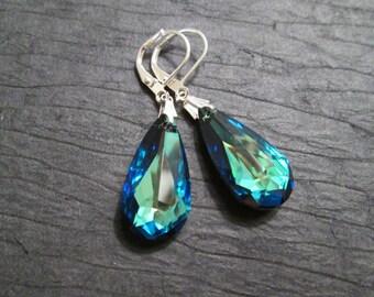 Bermuda Blue Crystal Earrings/ Swarovski Crystal/Swarovski Earrings/Bermuda Blue Drop Earring/Bridesmaid Earrings/ Bridesmaid Jewelry