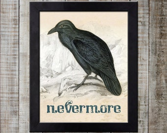 Edgar Allan Poe Inspired Vintage Styled Print - The Raven 'nevermore'