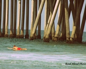 8 x 10 matted photograph, surfer, pier, Huntington Beach