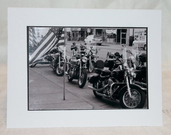 photo card, motorcycles, American Flag, photography