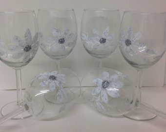 Hand Painted Large White & Silver  Sparkle Dazzle Wine Glasses set of 6