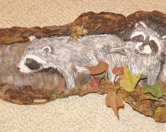 Hand Painted Raccoons on Old Wood (wall hanging) - Signed