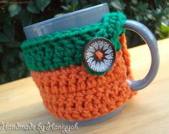 Crochet Mug Cozy - handmade -  Pumpkin orange and forest green