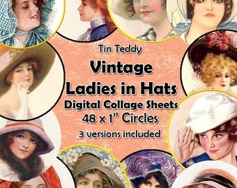 Vintage Ladies in Hats Printable Digital Collage Sheet  - 1 Inch Circles x 48  - Perfect for Jewelry, Bottle Caps etc