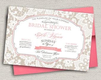 Elegant Lace Bridal Shower Invitation // Greige & Coral Pink