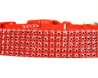 ON SALE Ready to SHIP- Red Rhinestone Dog Collar: Red Hot Rhinestone