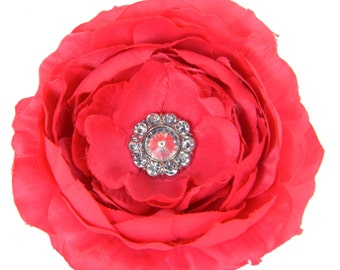 Pink Rhinestone Dog Collar Flower, Collar Attachment: Ruffled Rani in Magenta