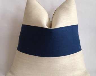Horizontal Blue Linen/Cotton and Cream Burlap Pillow Cover