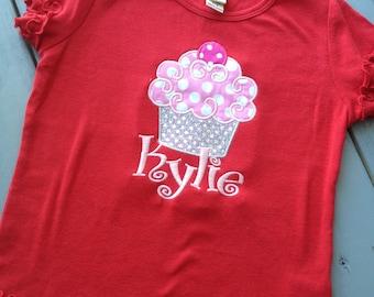 Custom Red Cupcake Boutique Birthday Shirt