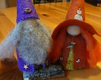 Large Wizard and Witch Peg Doll Couple, Waldorf Wooden Peg Doll Pair, Handmade Miniature