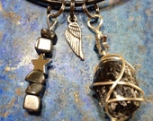 Divinity necklaces - Apache Tear with Hematite Stars by Rockin' Crystals