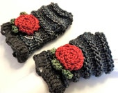 Karen Rose Fingerless Gloves, Hand Warmers in Blue Grey, Red and Green, Treasured Friends Scarf Collection, Merino Wool, Rose Floral