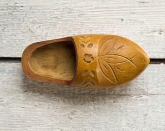 USSR Vintage Wooden Shoe Souvenir, Soviet Collectibles, Home Decor