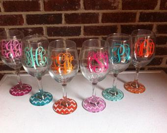 Set of 6 Monogrammed Wine Glasses-Chevron base