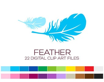 Digital Feather Clipart for Personal & Commercial Usage - 22 digital feathers / 3x1.5 inches - A70023