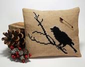 Cross Stitch Raven Pillow Tuck - Primitive Home Decor