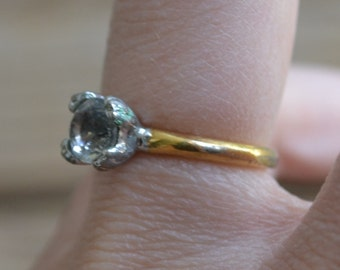 Lovely early antique gold filled white diamond paste edwardian art deco engagement ring / solitaire / wedding / steampunk
