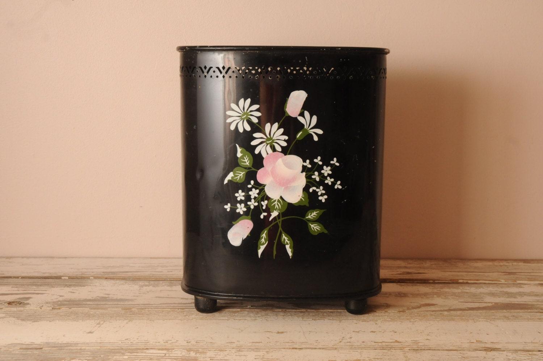 Vintage Detecto Metal Trash Can Black Pink Roses Hand Painted