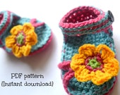Crochet baby sandals pattern, crochet baby slippers, blue and pink baby sandals, pattern no. 95