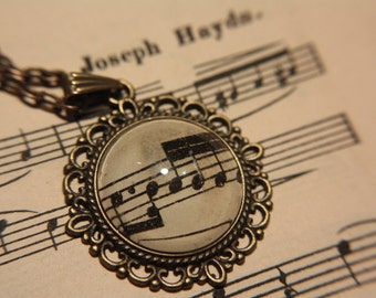 Joseph Haydn Music Notes/Tablature Necklace - In ornate frame