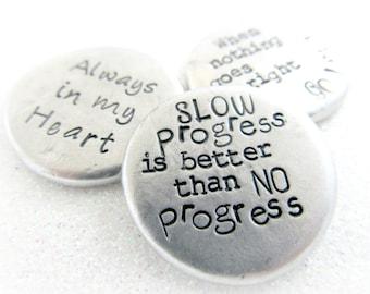 Set of 3 Medium Size Personalized Pocket Pebbles - Design Your Own Word Stone - Custom Pewter Pebble - Worry Stone Pocket Stone