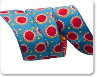 "JANE SASSAMAN 7/8"" ribbon--Blue/Red Dotty--price is per yard"