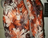 Luxurious floral palm like Orange browns and taupes drapey flowy silk chiffon fabric Rare Discontinued 3 yards 24 inches by 45.5 width