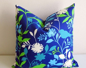 Richloom Birdie Pillow Cover Indoor Outdoor Royal Blue Teal Lime Decorative Pillow Cover Floral Leaves Leaf Solarium Fabric