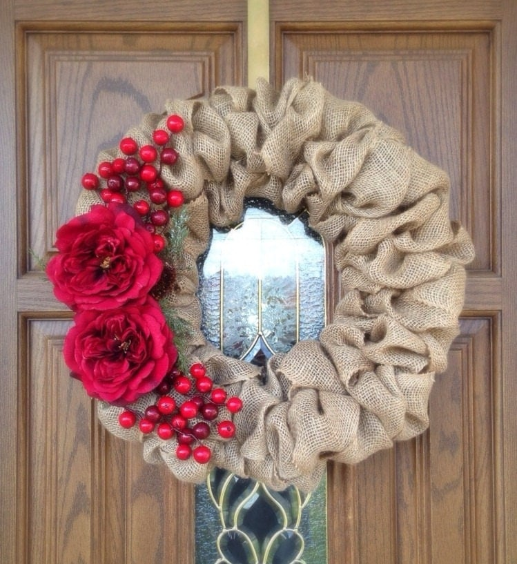 Red burlap christmas wreath holiday wreath by Burlap xmas wreath