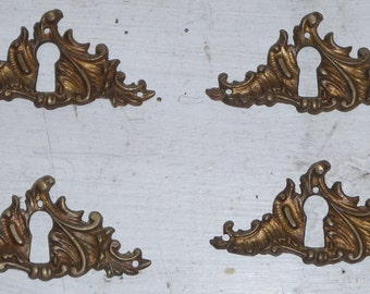 French Spray Cast Brass Key Escutcheon, backplate or key save
