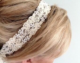 "Crystal Headband. Wedding Bridal Tiara, Headpiece. WHITE or IVORY Satin Ribbons, Rhinestones.Beaded. Bridesmaids, Prom ""Kristi"""