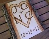 Custom country wedding decor, Rustic wedding gift, Hand made basswood wedding gift