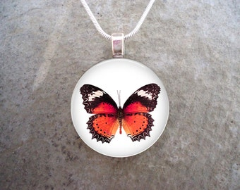 Butterfly Jewelry - Glass Pendant Necklace - Butterfly 15 - RETIRING 2017