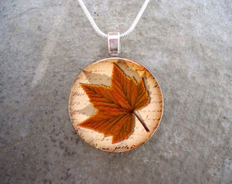 Maple Leaf Jewelry - Glass Pendant Necklace - Autumn Leaves 15