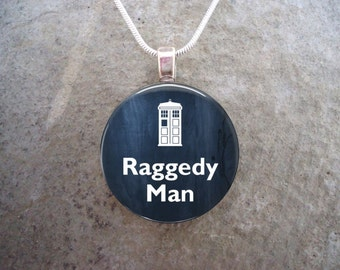 Doctor Who Jewelry - Raggedy Man - Glass Pendant Necklace