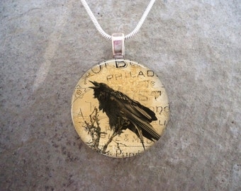 Raven Jewelry - Glass Pendant - Necklace  - Raven 9