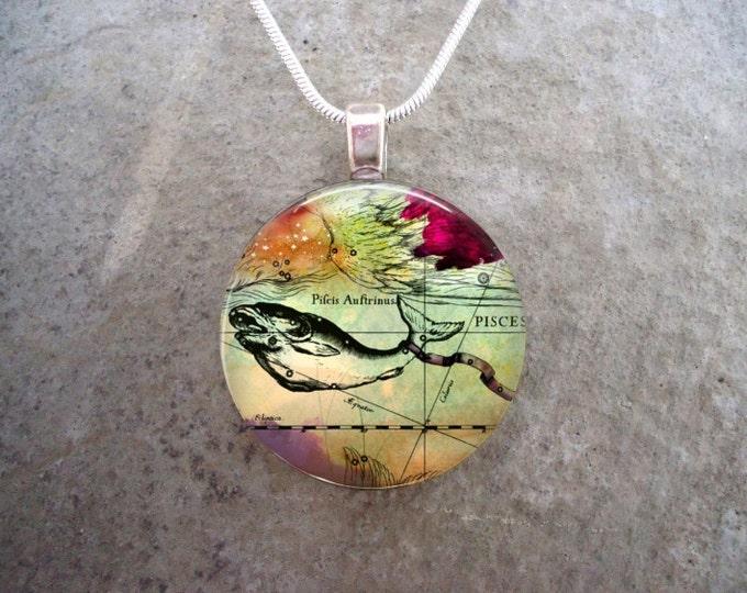 Pisces Jewelry - Glass Pendant Necklace - Victorian Horoscope - RETIRING 2017