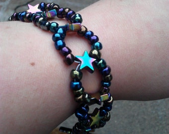 Iridescent Hematite Star Bracelet
